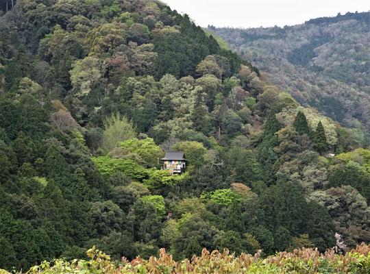 Der Blick auf die andere Talseite mit einem kleinen Tempel.