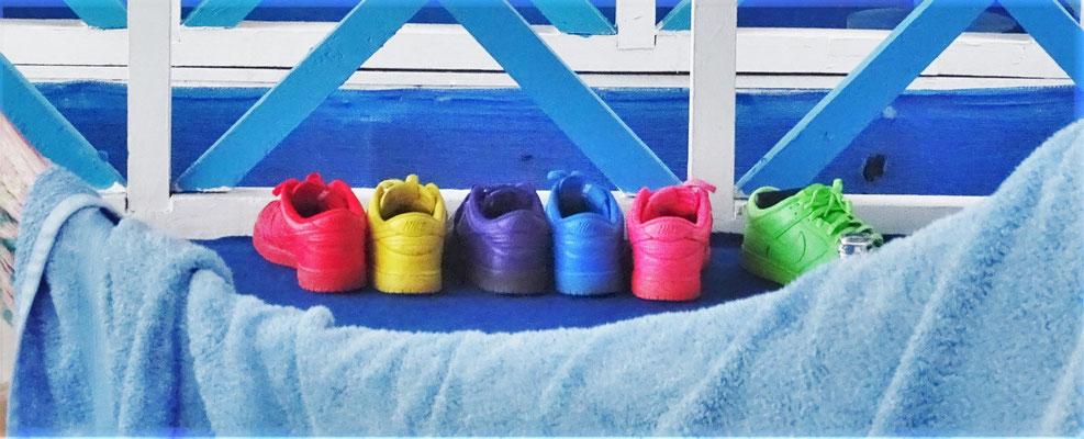 ...das farbenprächtige Schuhwerk des einen.