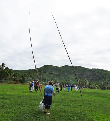 Die Sielwiese mit dem Rugby Tor.