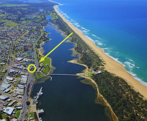 Lakes Entrance aus der Luft. (Plakatfoto)
