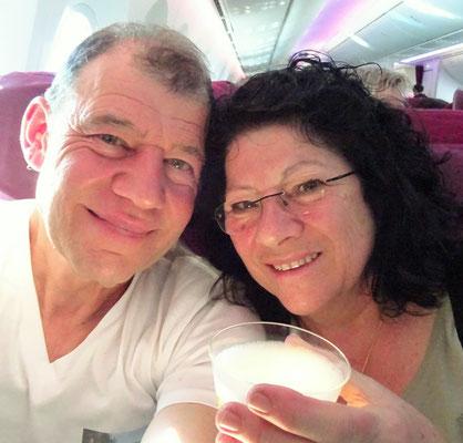 Der Champagner im Flugzeug....
