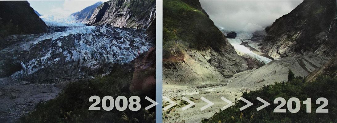 Der Rückgang des Gletschers in 4 Jahren.