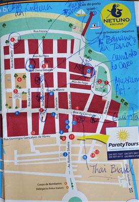 Der Stadtplan von Paraty mit den Notizen von Denise.