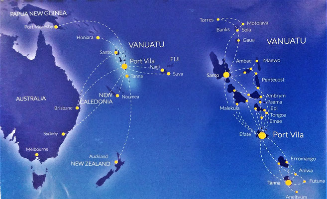 Flugrouten der Air Vanuatu.