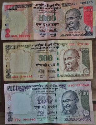 Indisches Geld. 100 RPS sind Fr. 1.50