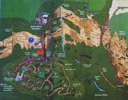 Die Übersicht von Scenic World Katoomba.