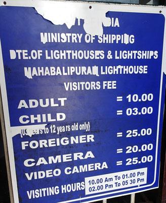 Die Preise für den Leuchtturm mit Kamera zusätzlich