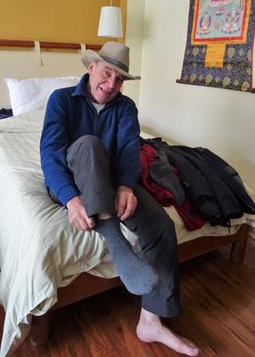 ...mit dem neuen Hut die Socken wechseln