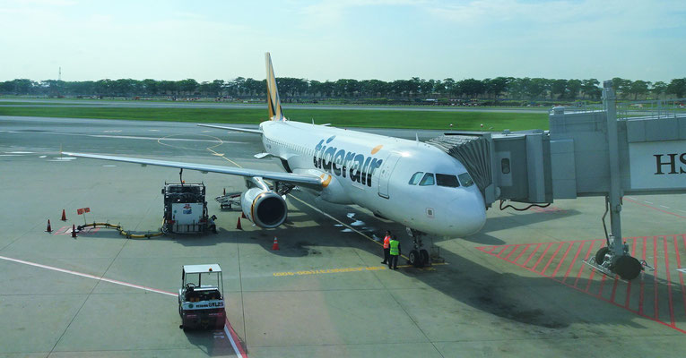 Unser Flugzeug nach Jakarta.