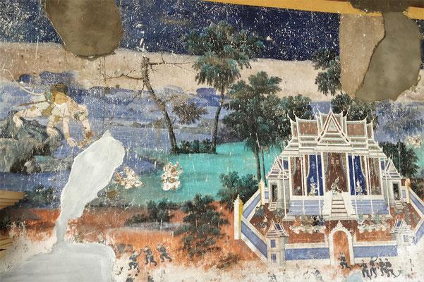 Defekte Wandbilder vor der Renovation......