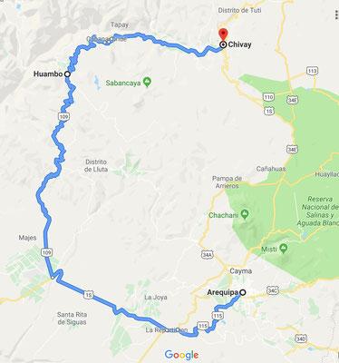 Der geplante Weg, 314km, 5.34 Stunden reine Fahrzeit.