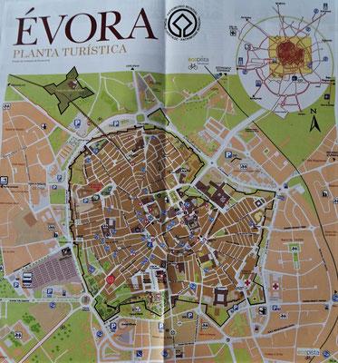 Der Stadtplan von Evora.