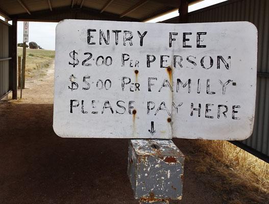 Der Eintrittspreis.....ohne Kontrolle.....
