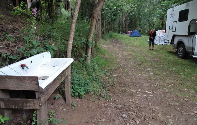 Der Camping Donde Jorge mit der Abwaschstelle.
