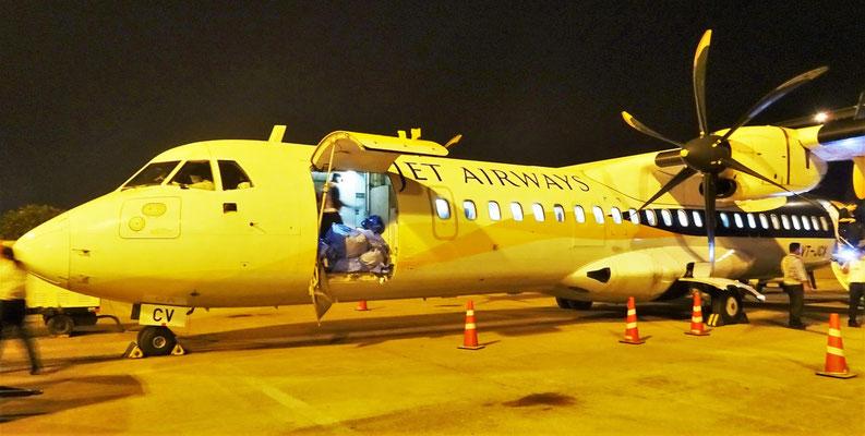 Unsere Propellermaschine ATR 72-500 mit max. 68 Passagieren.