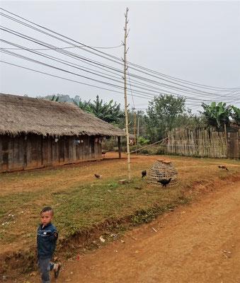 ....mit dem Strommasten aus Bambus.