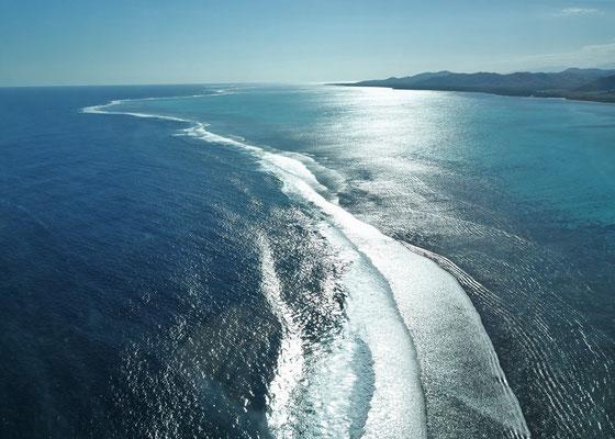 .....über das Riff....