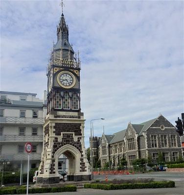 Der Uhrturm von Christchurch.