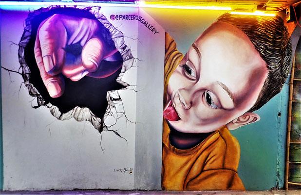 ......der Graffitis in diesem Quartier.