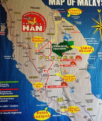 Malaysia mit dem Taman Negara Natinalpark (Grüne Fläche)