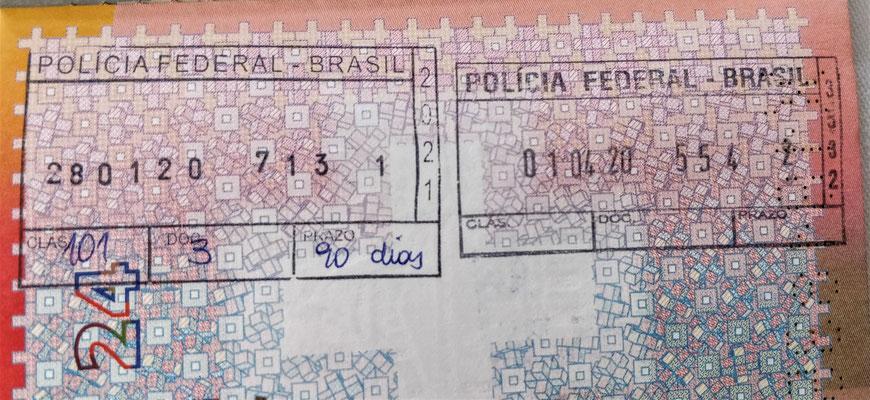Ein- und Ausreisestempel von Brasilien.