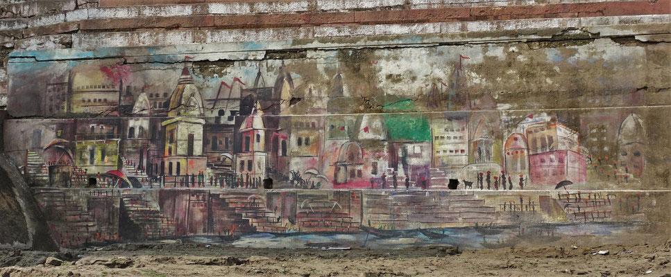 Künstlerische Zeichnung an den Ufermauern