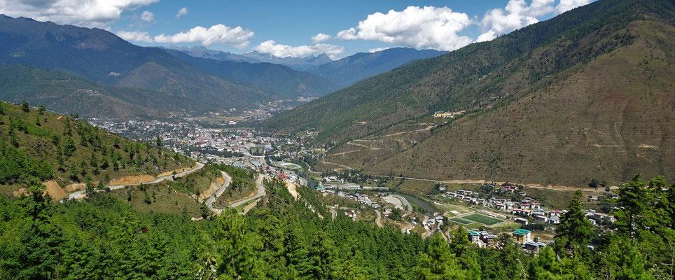 Der Blick auf Thimphu