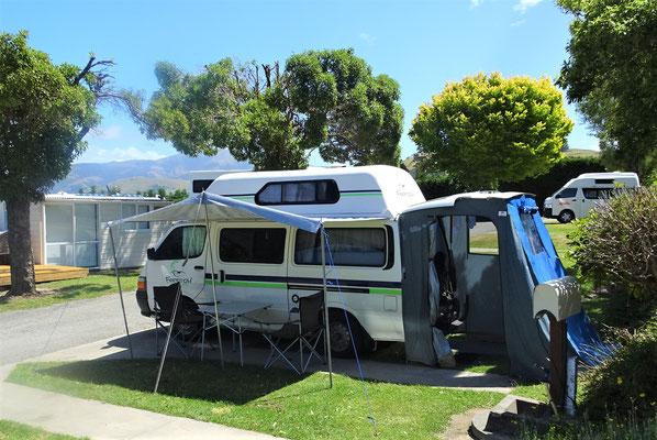 Unser erster Campingplatz in Akaroa.....