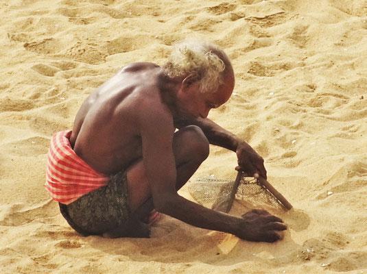 Der Sand wird ins Sieb geschaufelt