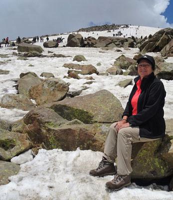 ...mit Colette auf dem warmen Stein.