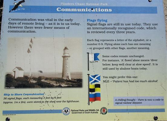 Die Signalflaggen für die Schiffe.