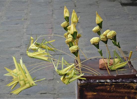 Verkaufsstand für Palmblätter Kunst.