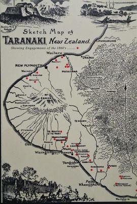 Die Karte von Taranaka aus dem Jahre 1860.