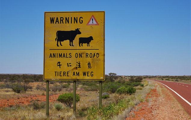 Viele Hinweisschilder auf Tiere...