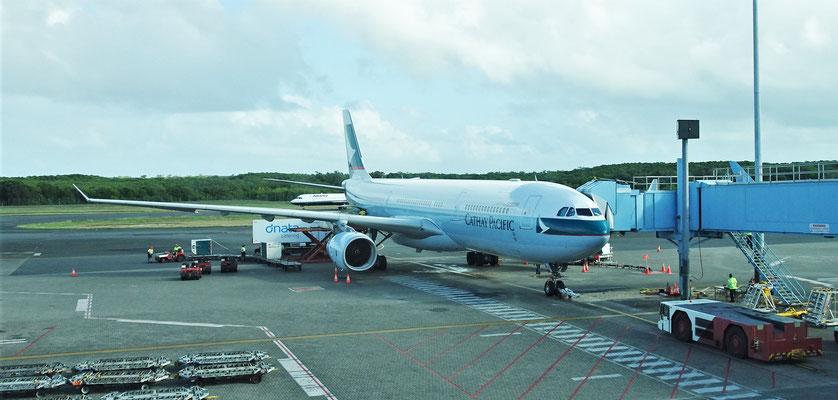Unser Flugzeug nach Hongkong.