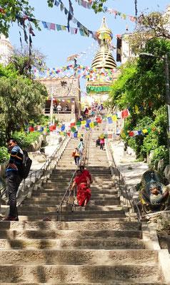 Der Aufstieg zum Swayambhu Tempel