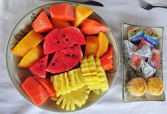 Die Früchte zum Frühstück.