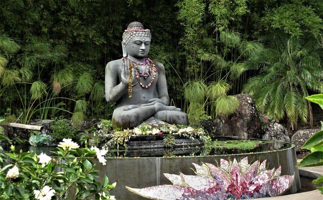 Der segnende Buddha im Lotusbecken.