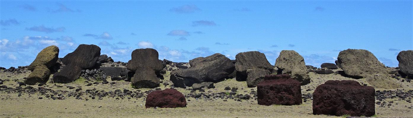 Die ersten Moai liegen auf der Nase.