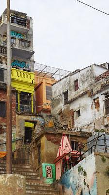 Unser Hotel Nirmal Ganga Home Stay (Rosa Gebäude)