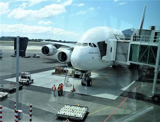 Der Blick zurück auf den A380.