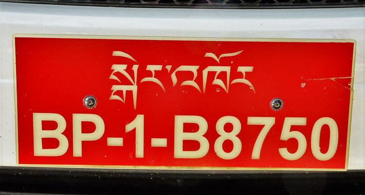 Autoschilder Bhutans, BP = Bhutan Privat