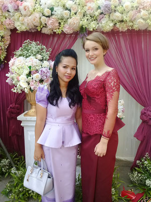 with my supervisor during a khmer wedding