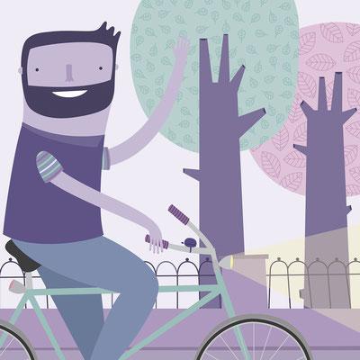 Ciclista. Ilustración personal. Noviembre, 2017