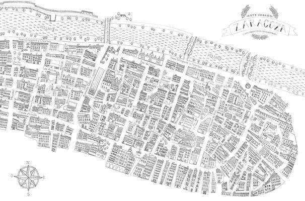 Plano ilustrado el Casco Antiguo, La Magdalena y San Pablo de Zaragoza para el X Festival Asalto de Arte Urbano. Septiembre, 2014