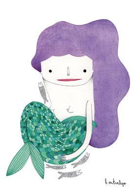 Sirena. Ilustración personal. Diciembre, 2017
