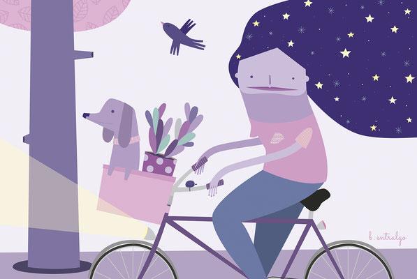 Zaragoza, la ciudad de las bicis. Ilustración para exposición colectiva en las calles de Zaragoza. Abril, 2017