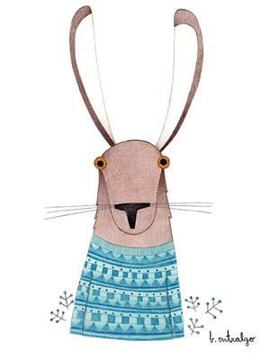 Hare in blue. Ilustración personal. Diciembre, 2017