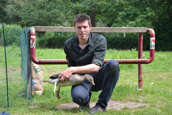 Simon Hinrichs mit frisch beringtem Jungvogel