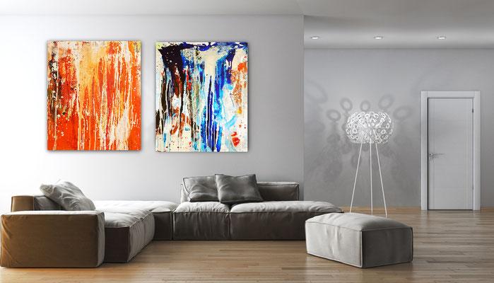 abstrakte Bilder orange blau
